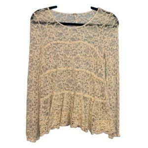 Free People Lace Crochet Blouse Cream Size Small